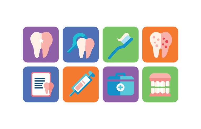 Pack d'icônes de soins dentaires vecteur