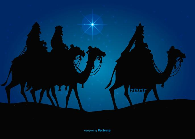 Three Wise Men on the way to Visit Jesus