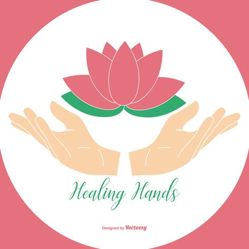 Healing Hands Holding Lotus Flower Illustration