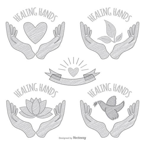 Hand Drawn Sketchy Healing Hands