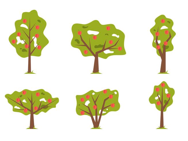 Vetor plano da árvore de pessegueiro