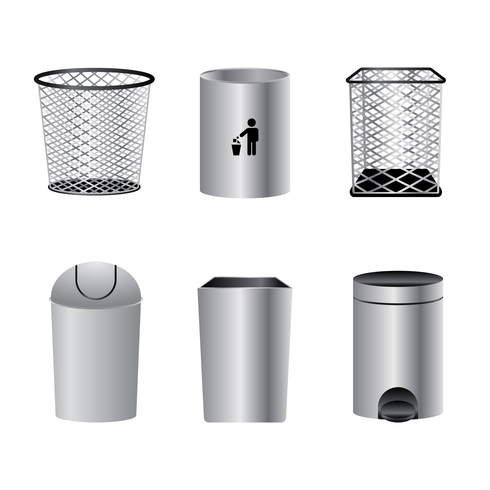 Realistic Waste Basket Vector