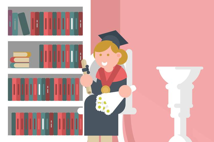 Graduate with Diploma Illustration