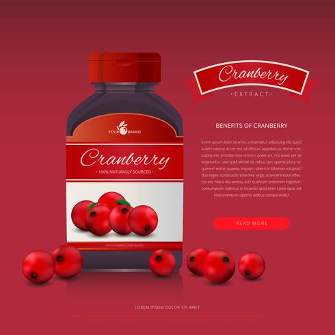 Cranberries-Extrakt-Werbeschablone
