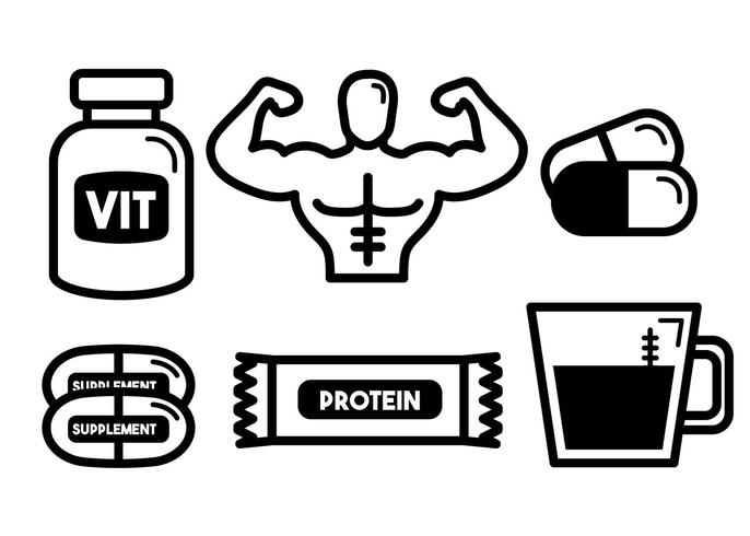 Body Building met supplementen Vector Set