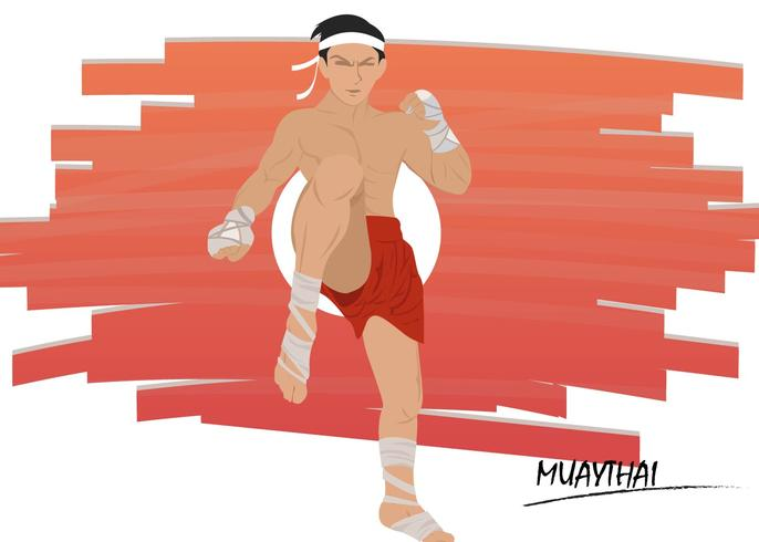 Muay Thai Fighting Pose Vector