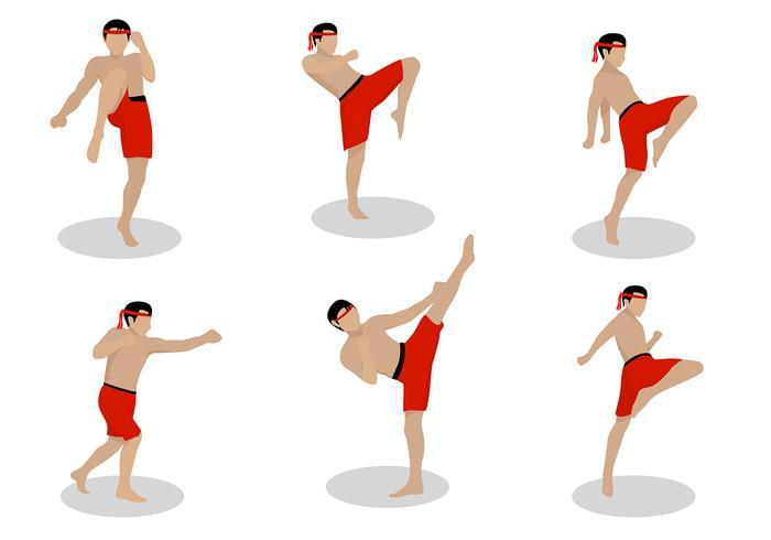 Muay Thai Action Pose Free Vector