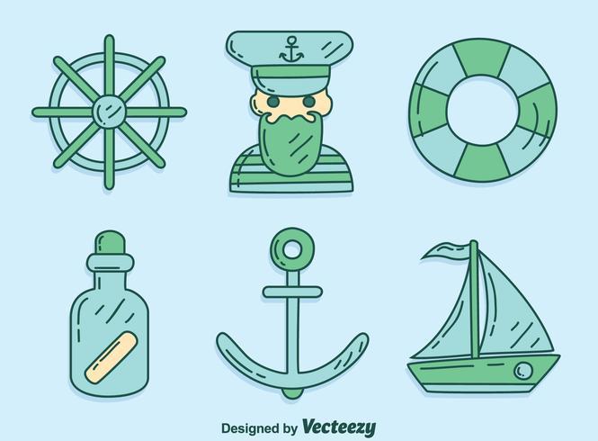 vettore di elemento marinaio disegnato a mano