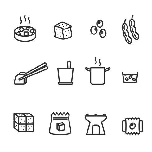 Soy Tofu Icons Vector