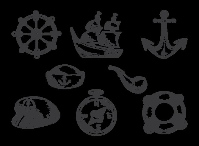 Handdragen sjömansvektorer