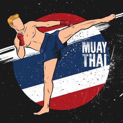 combattant muay thai donnant un coup de pied illustration