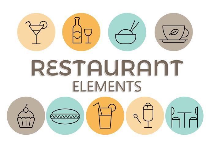 Kostenloses Restaurant-Elemente-Vektor