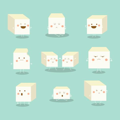 Cartoon Tofu Vector