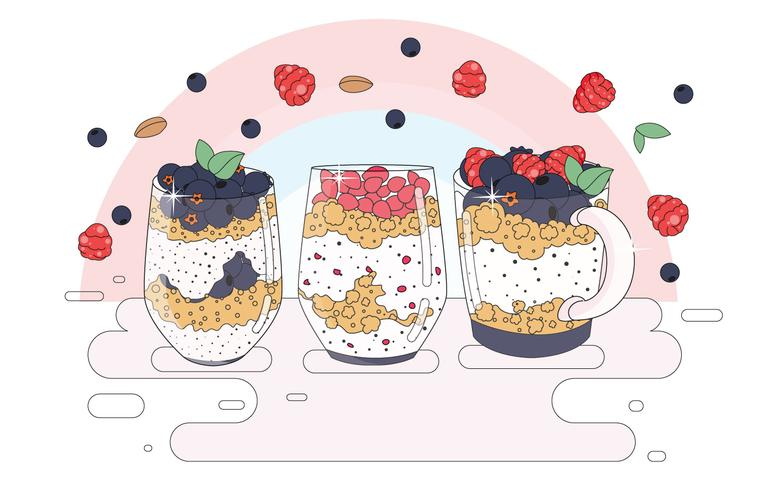 Granola in a Glass Vector