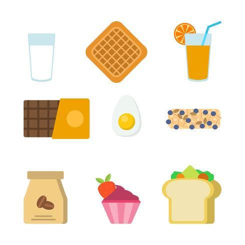 Flache Frühstück Vektoren