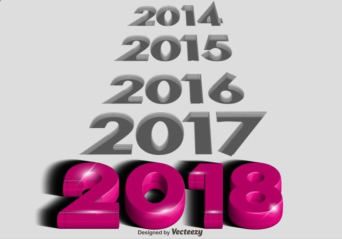 Vector 3d 2018 Happy New Year Vector Background