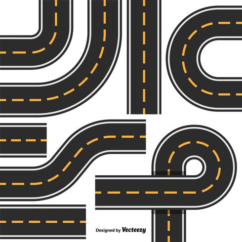 Road Map Design Element Set. Top View Position. Highway Parts vector