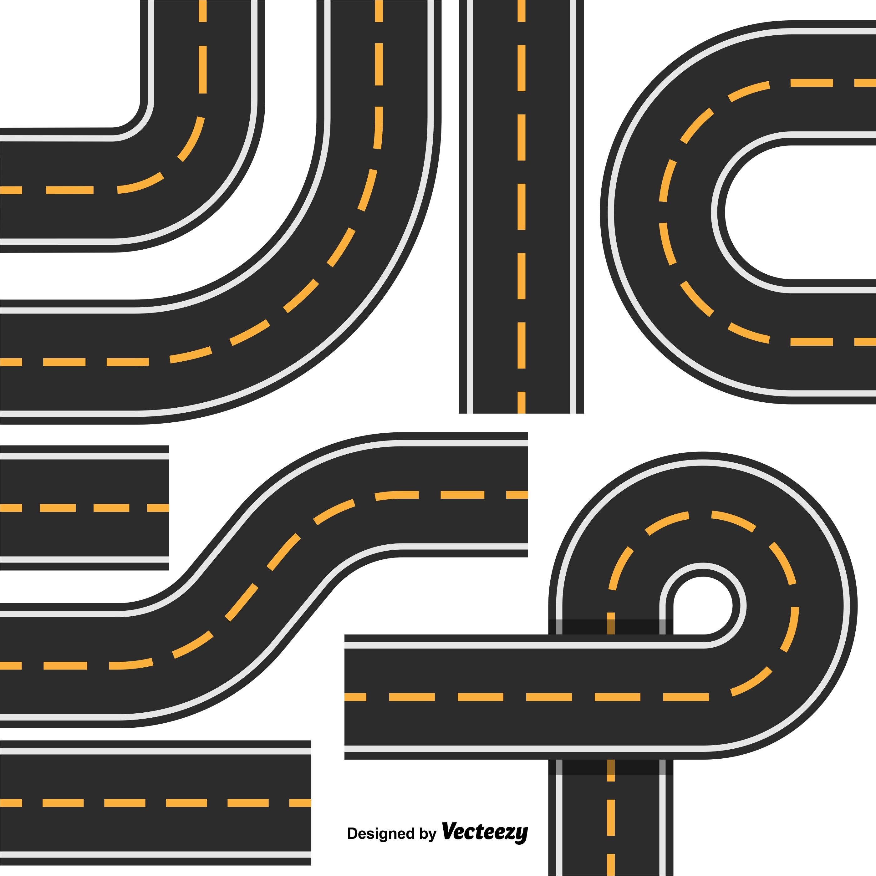 Road map design element set top view position highway for Top view design