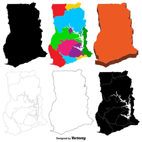 Vector Ghana Map Set