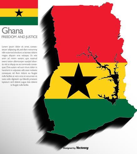 Vector 3d mapa de Ghana con bandera