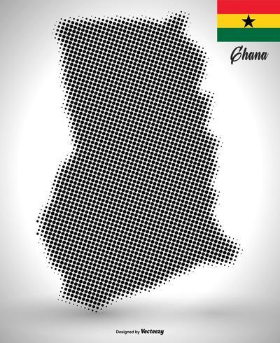 Vector Ghana Map In Halftone