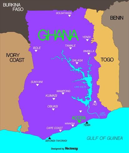Mapa de Ghana del vector