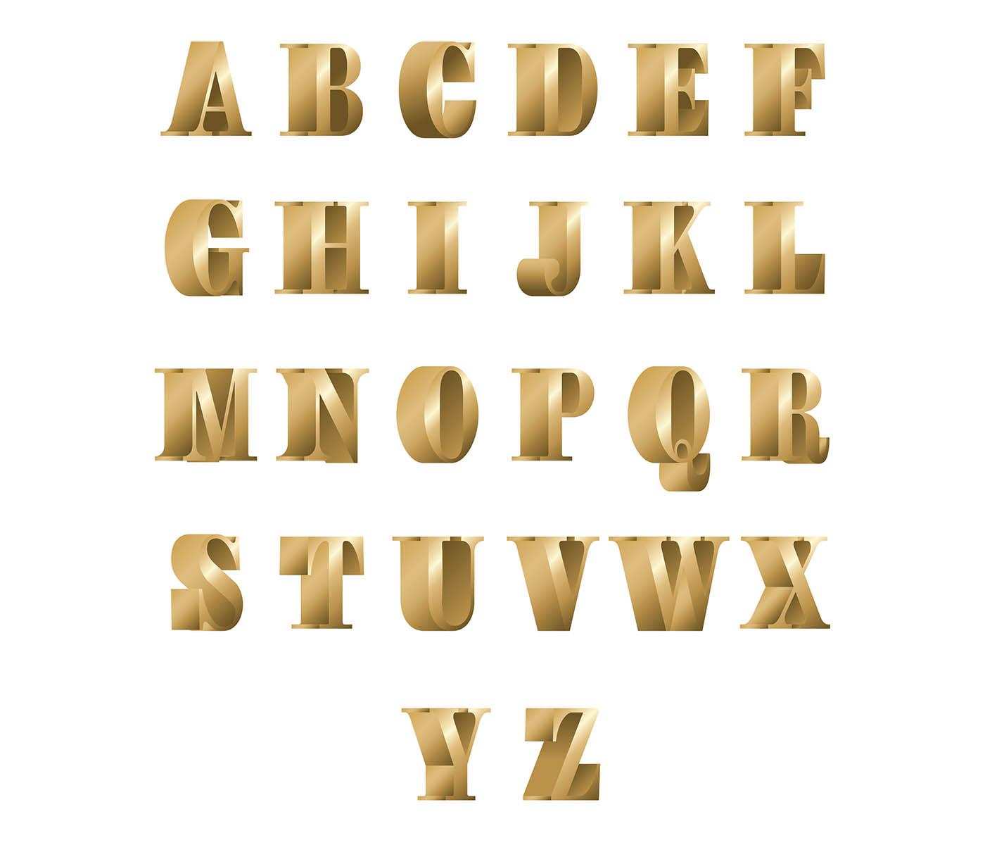 3d font bronze free vector