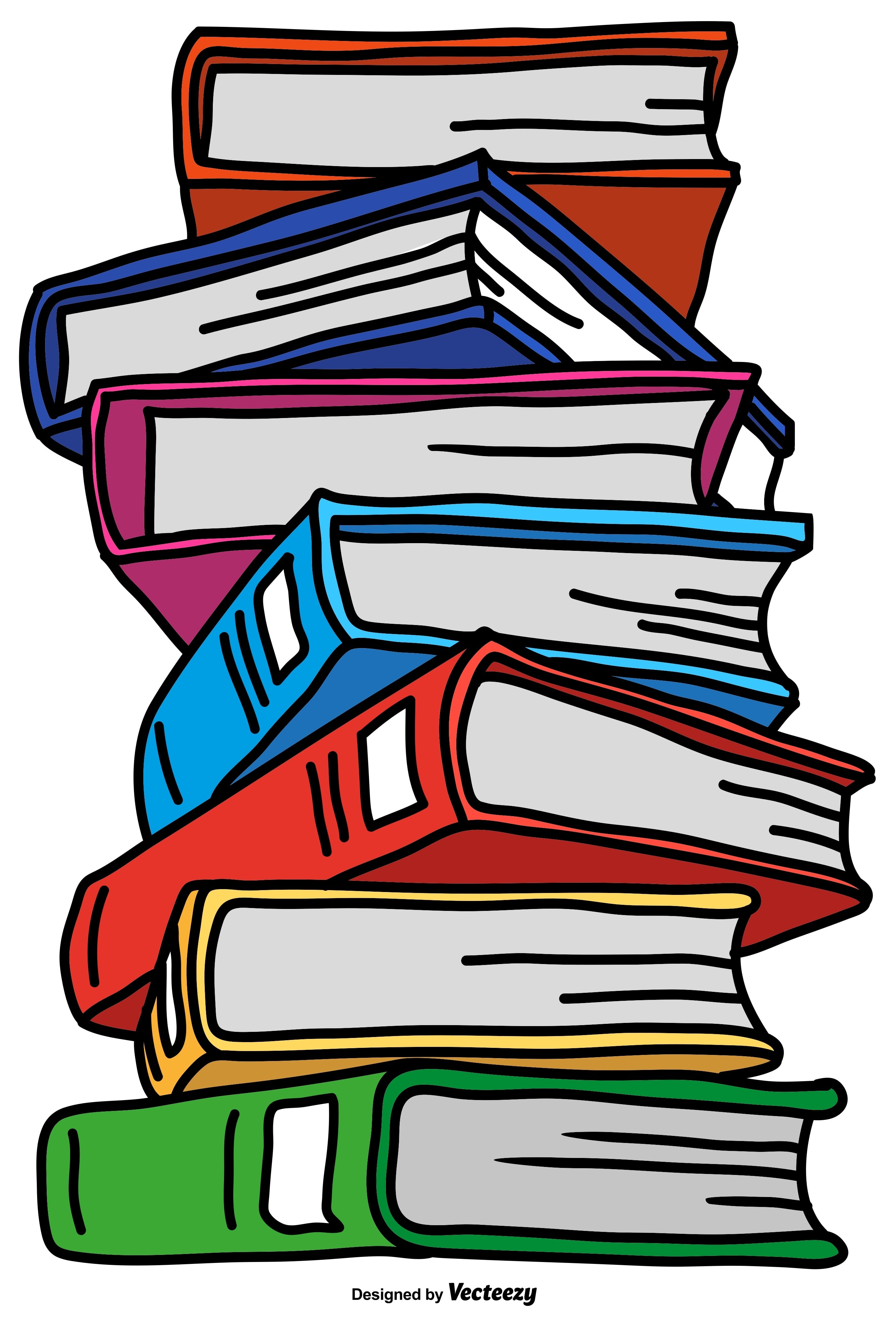 Vector Pile Of Color Cartoon Style Books - Download Free Vector Art ...