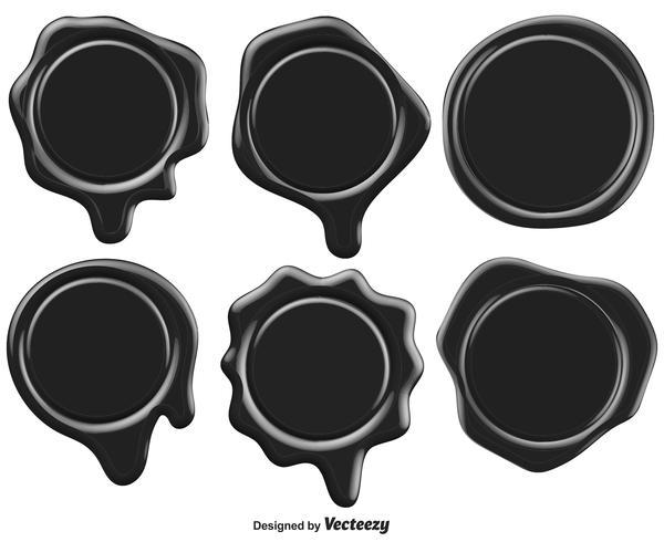 Set Of Black Stamp Wax Seal - Vector