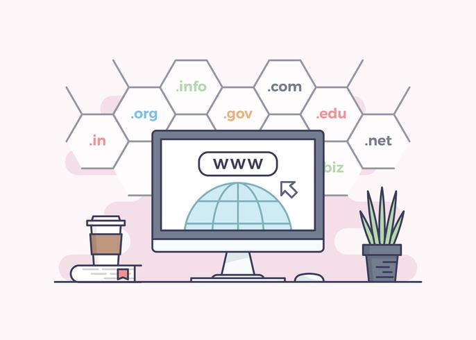 Domain Name Registrierung Konzept Design
