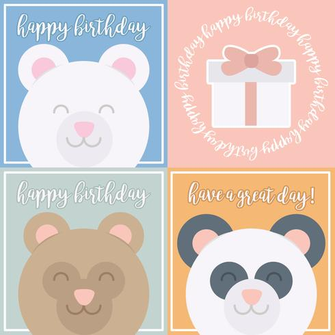 Vector Cute Bear Birthday Cards Download Free Vector Art Stock