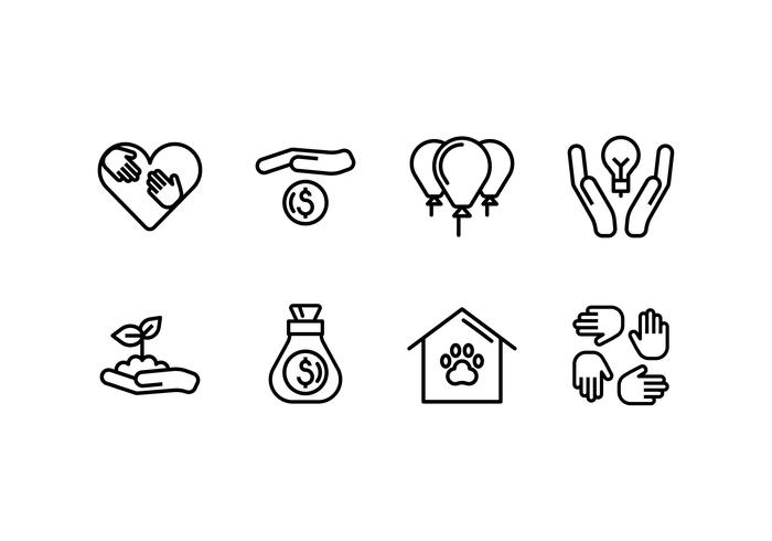 Kindness set linear icon vector