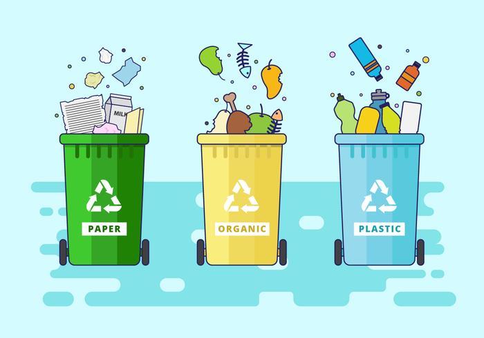 Illustration vectorielle de poubelle gratuit vecteur