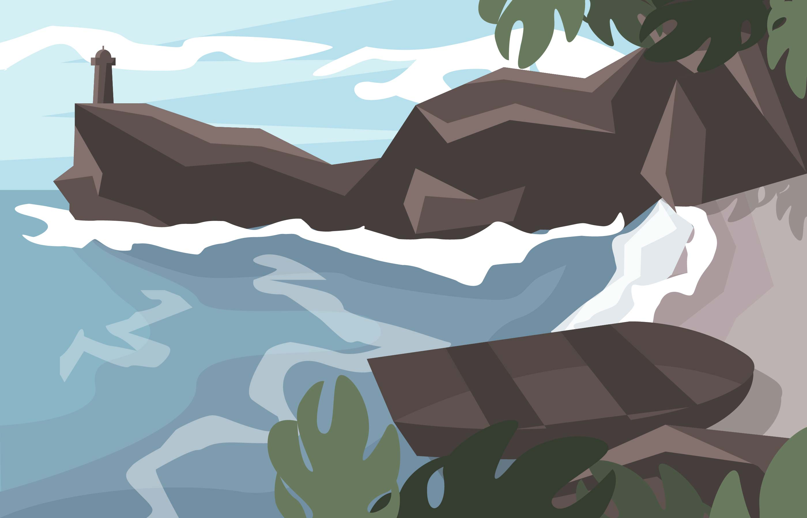 Landscape Illustration Vector Free: Cove Paradise Beach Island Landscape Illustration Vector