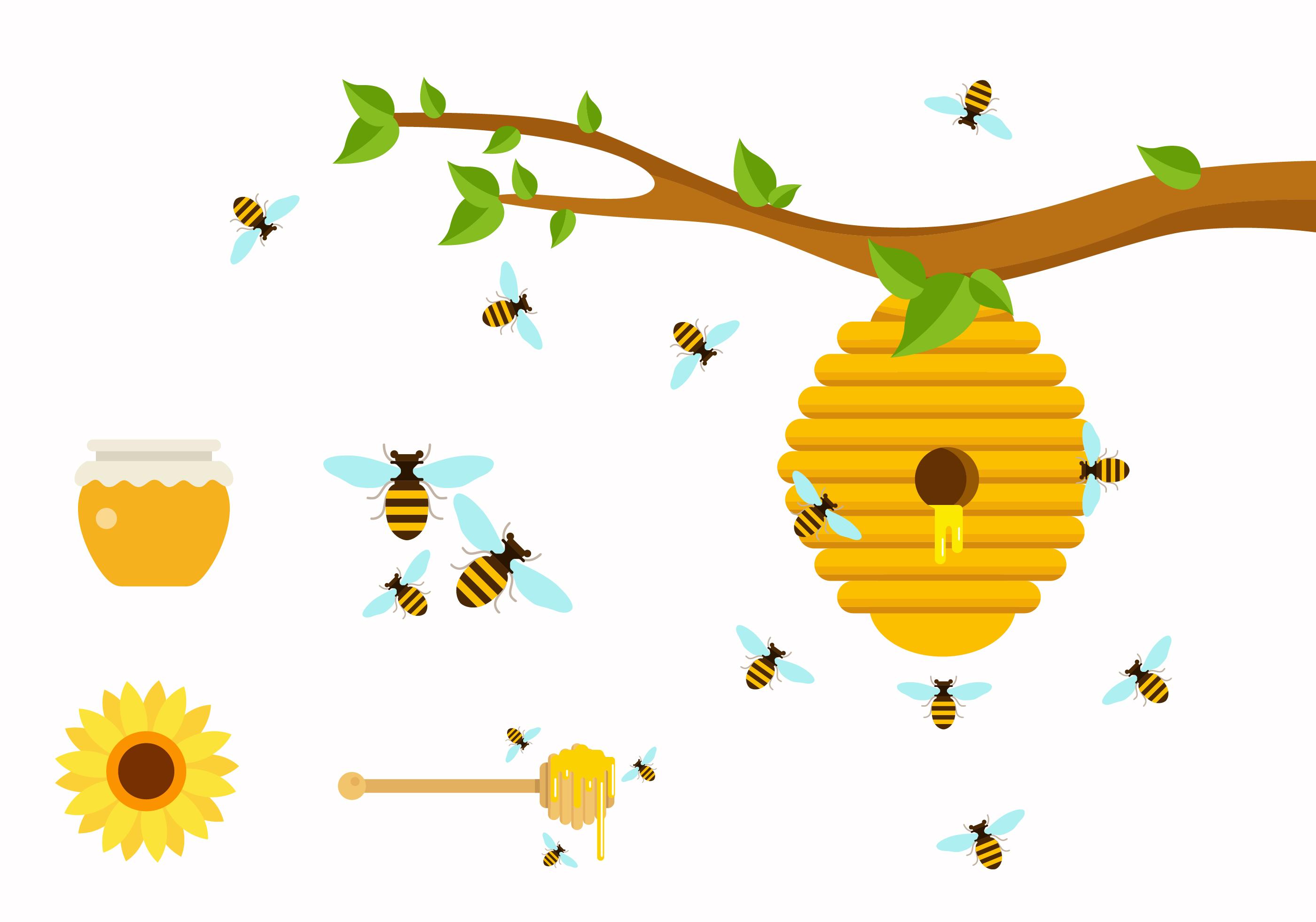 af1d308612fe Flat Honey Bees - Download Free Vector Art