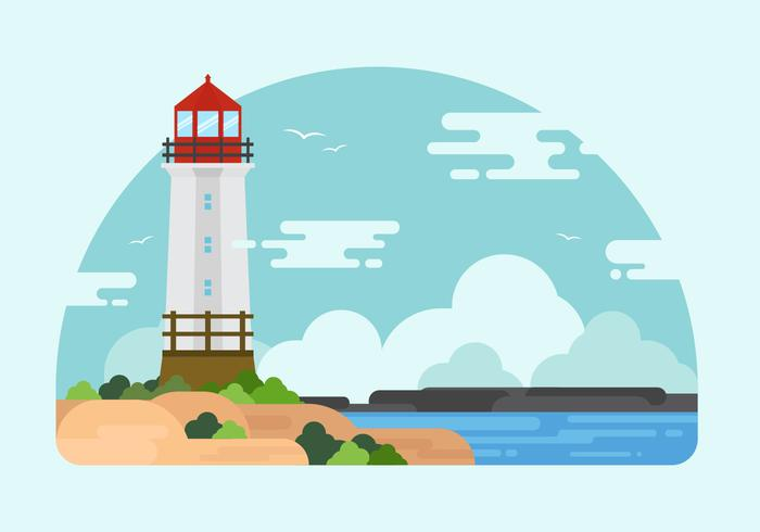 Free Cove with Lighthouse Illustration