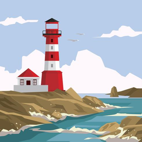 Cove Lighthouse Free Vector