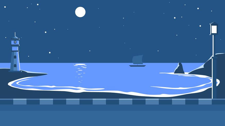 Cove At Night Free Vector