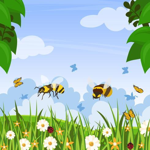 Hornets In Garden Vector