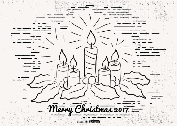 Getekende Merry Christmas-illustratie