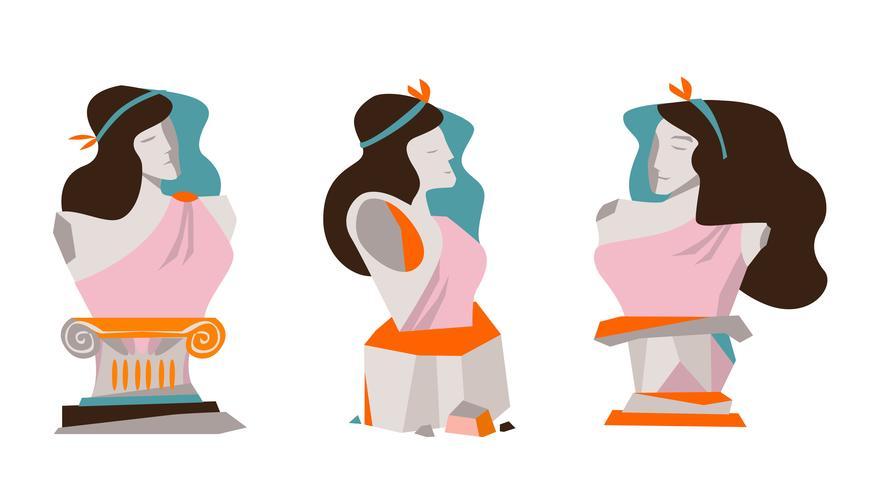 Aphrodite, antiga, pedra, estátua, vetorial, liso, Ilustração