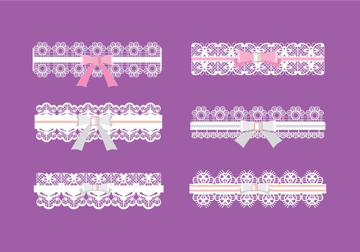 Set of Garter Pattern with Pink and White Ribbon