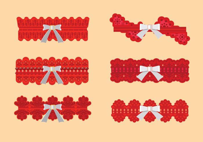 Set med rött gartermönster med vitt band