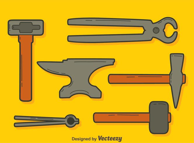 Blacksmith Tools On Orange Vector