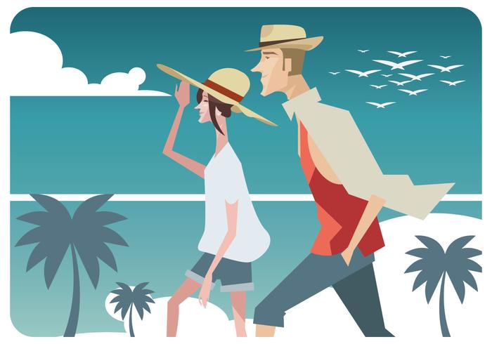 Couple With Traditional Panama Hat Vector