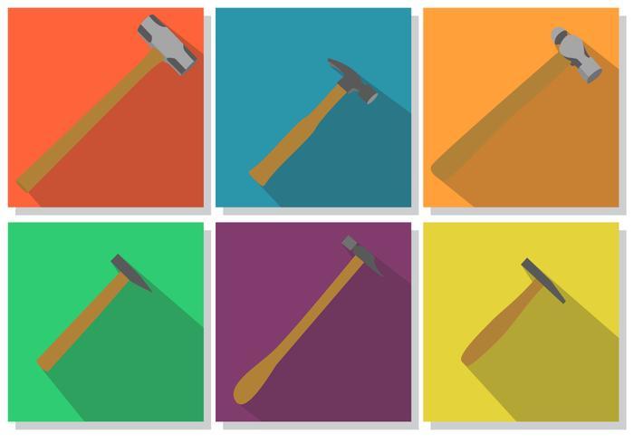 Flache Hammer-Icon-Set vektor