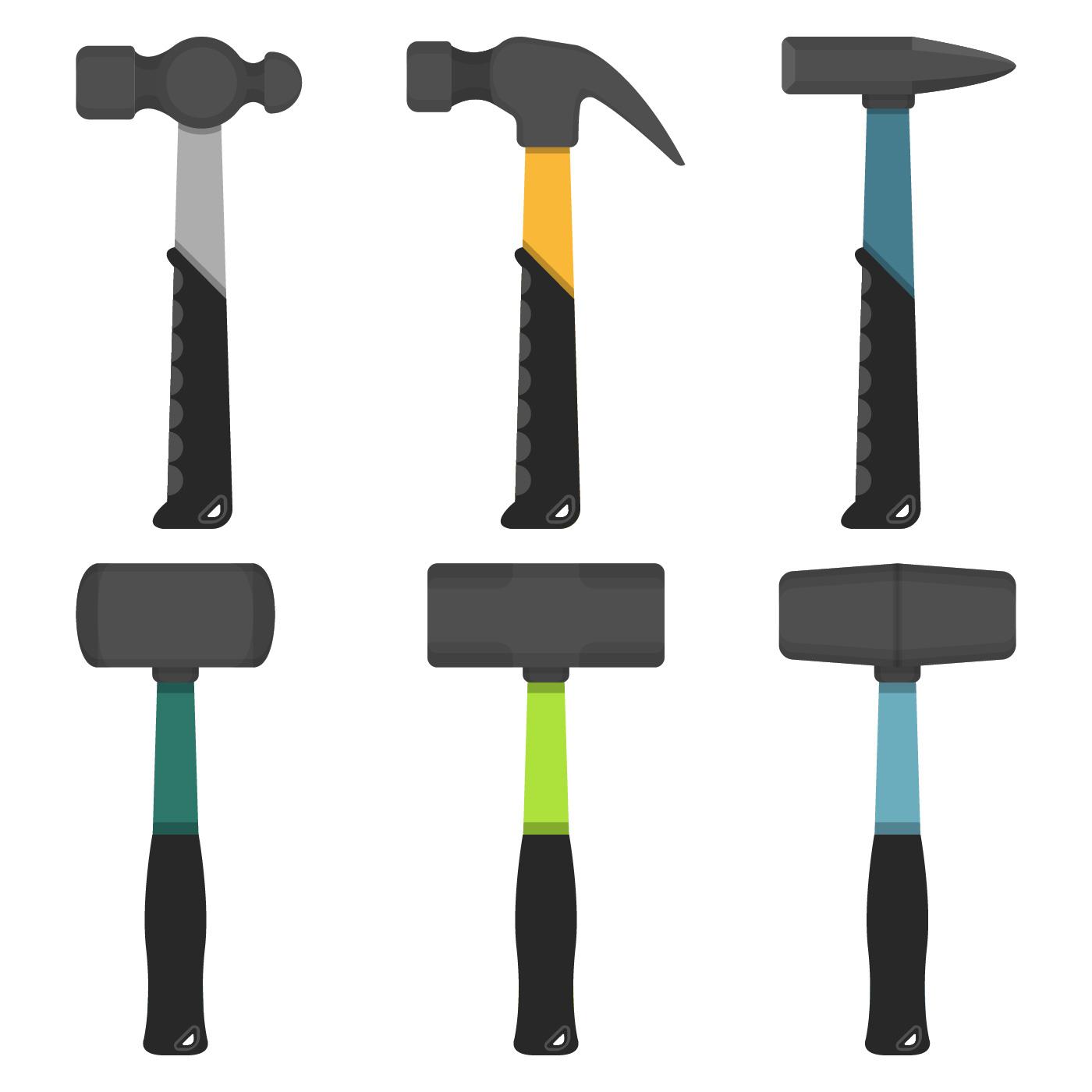 Vector Illustration Hammer: Set Of Iron Hammer Vector Collection