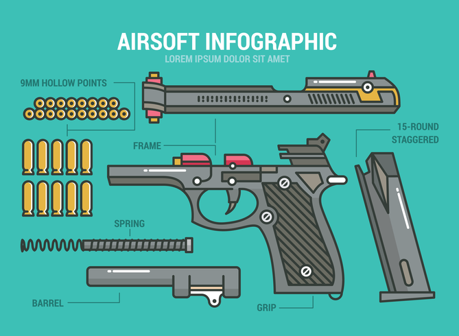 infographic airsoft vetor