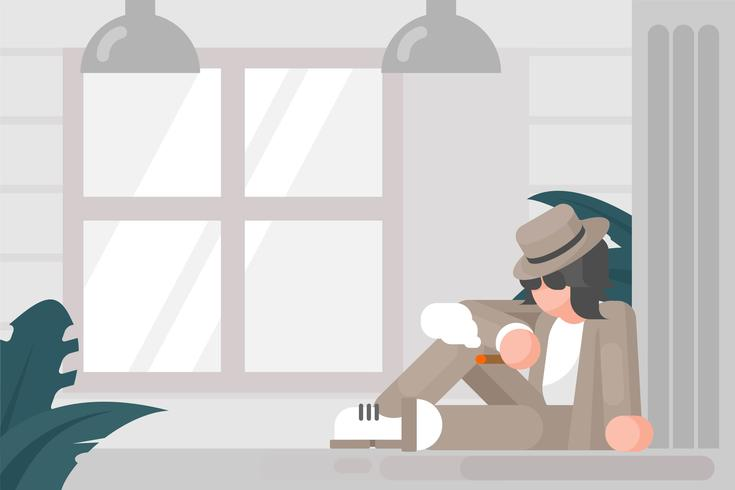 Person i Panama Hat Illustration