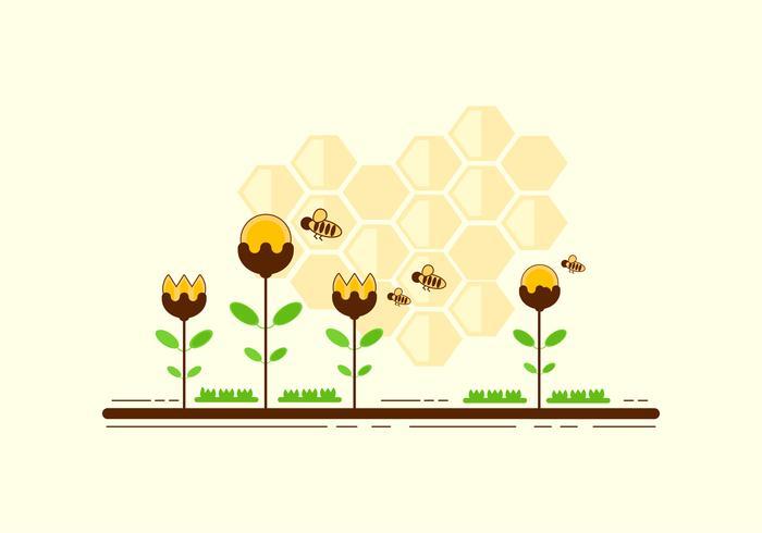 Cartoon Hornets über Blumen Vektor